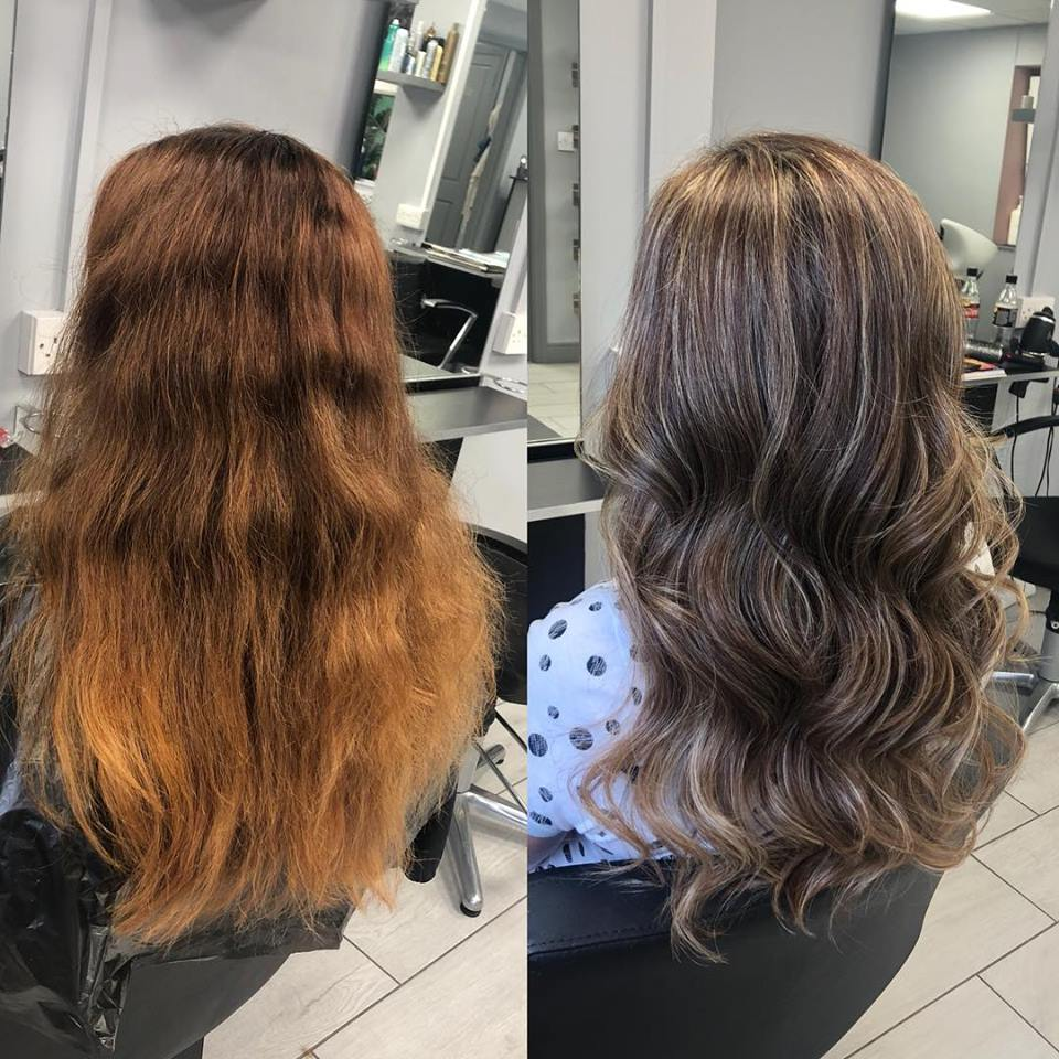before and after of straight to wavy hair