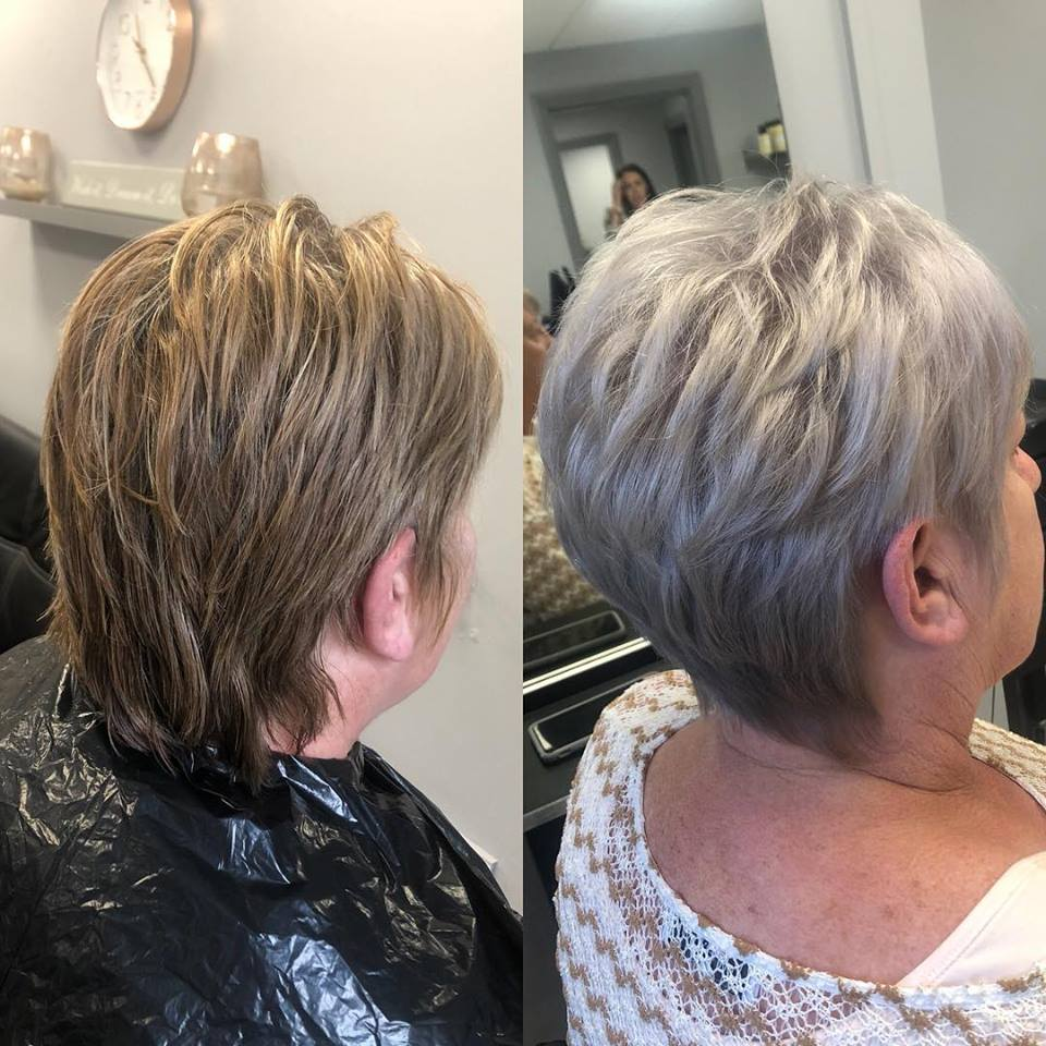 before and after of blonde hair to grey hair